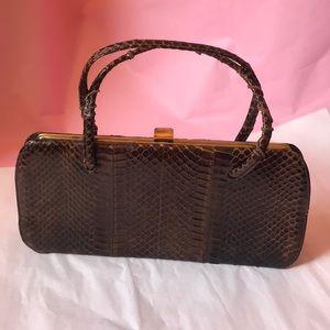 Vintage 40's brown/gold snake skin purse